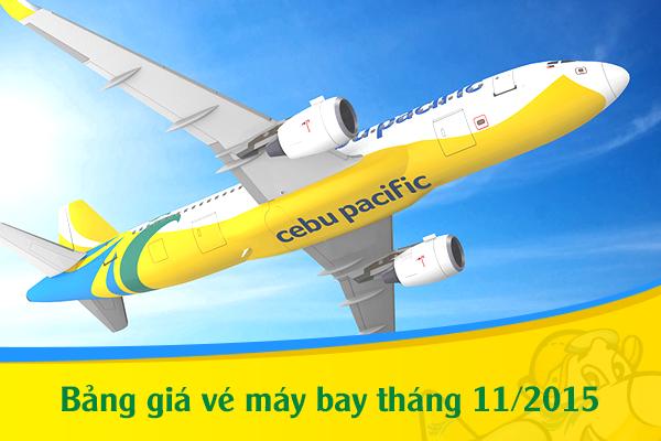 Bảng giá vé máy bay Cebu Pacific tháng 11/2019
