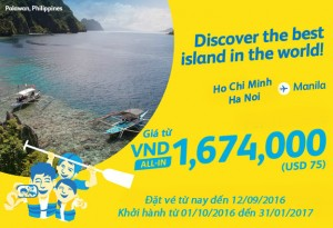 Khám phá những hòn đảo đẹp nhất thế giới với vé khuyến mãi đi Manila giá 1,674,000 đồng