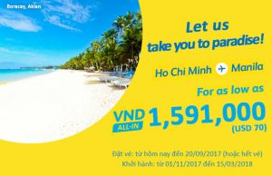 Cebu Pacific khuyến mãi 70 USD từ Hồ Chí Minh đi Manila