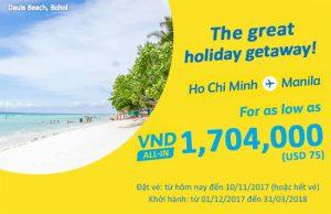 Cebu Pacific tung vé giá sốc 75 USD bay Manila