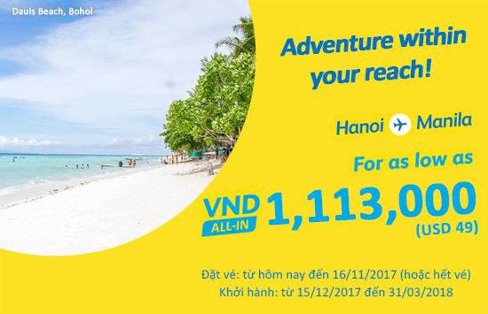 2 ngày giá sốc 49 USD bay Manila cùng Cebu Pacific